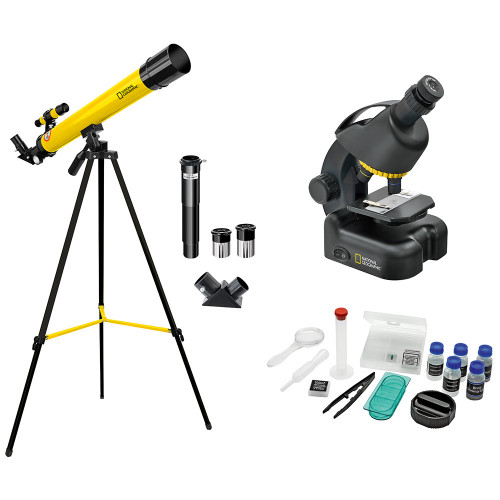 Набор Bresser National Geographic: телескоп 45/600 AZ и микроскоп 40–640x