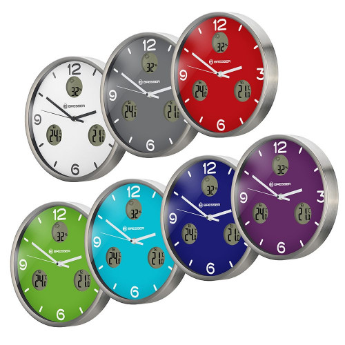 Часы настенные Bresser MyTime io NX Thermo/Hygro, 30 см, синие